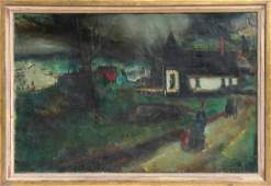Jean Louis Liberte, French Village, Oil Painting