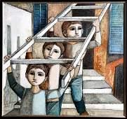 Lucio Ranucci, Ladder, Oil Painting