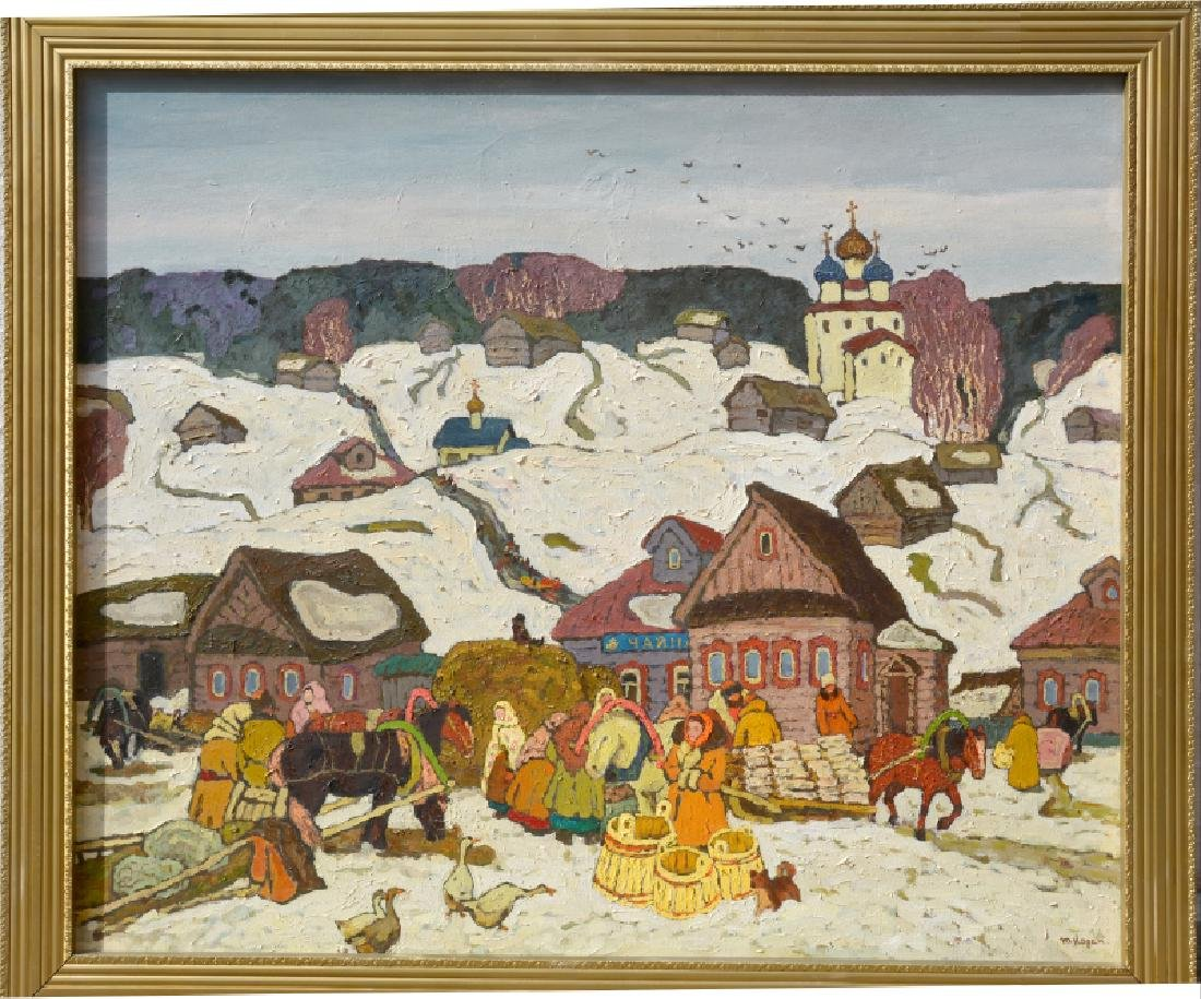 Moisey Kogan, Winter in the Russian Village, Oil