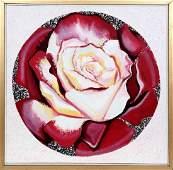 Lowell Blair Nesbitt, Red and White Rose, Oil Painting