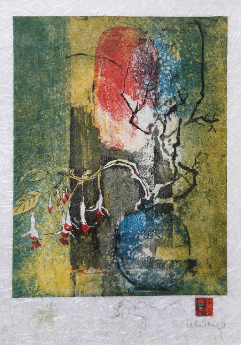 Lebadang, Blue Vase, Lithograph on Handmade paper