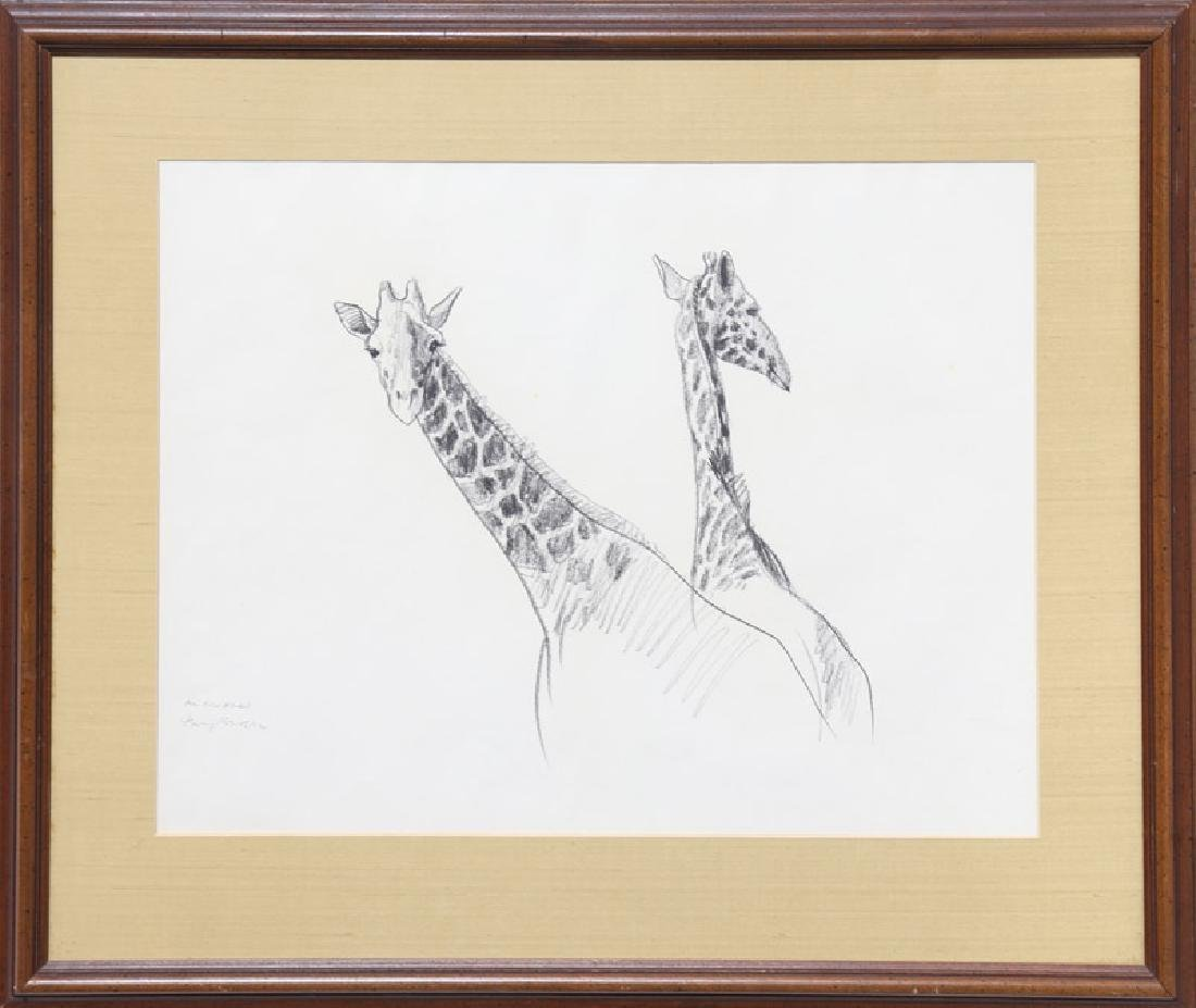 Henry Koehler, Two Giraffes, Pencil Drawing