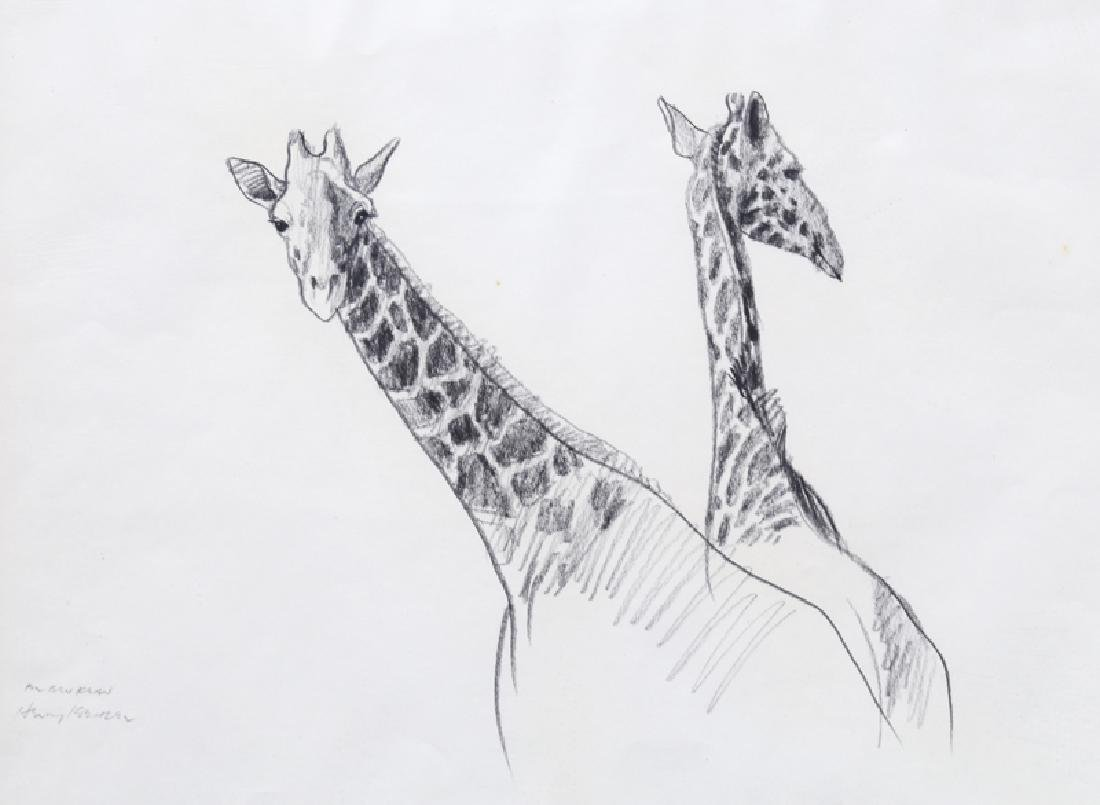 Henry Koehler, Two Giraffes, Pencil Drawing - 2
