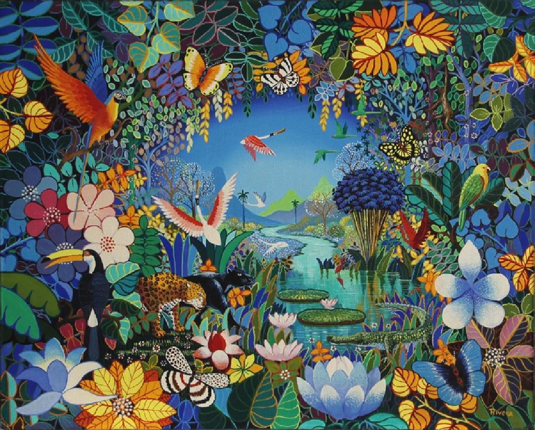 Luis Rivera, Tropical Scene, Acrylic Painting