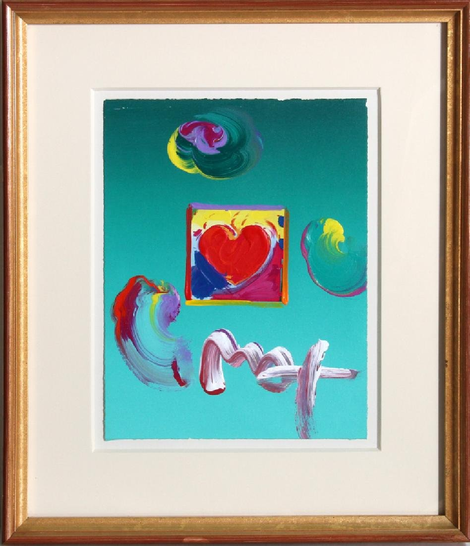 Peter Max, Heart, Acrylic and Collage Painting
