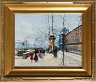 Louis Dancourt, Along the Seine 2, Oil Painting
