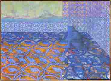 Richard Hagerty, Blue Corner, Oil Painting