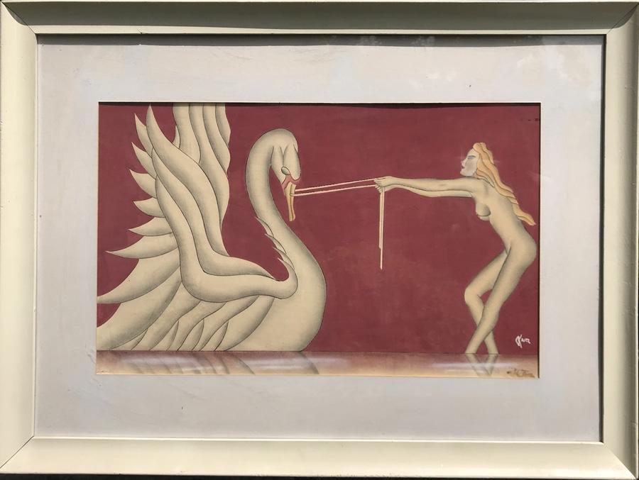 Gustav Kaitz, Leda and the Swan, Gouache, Ink and