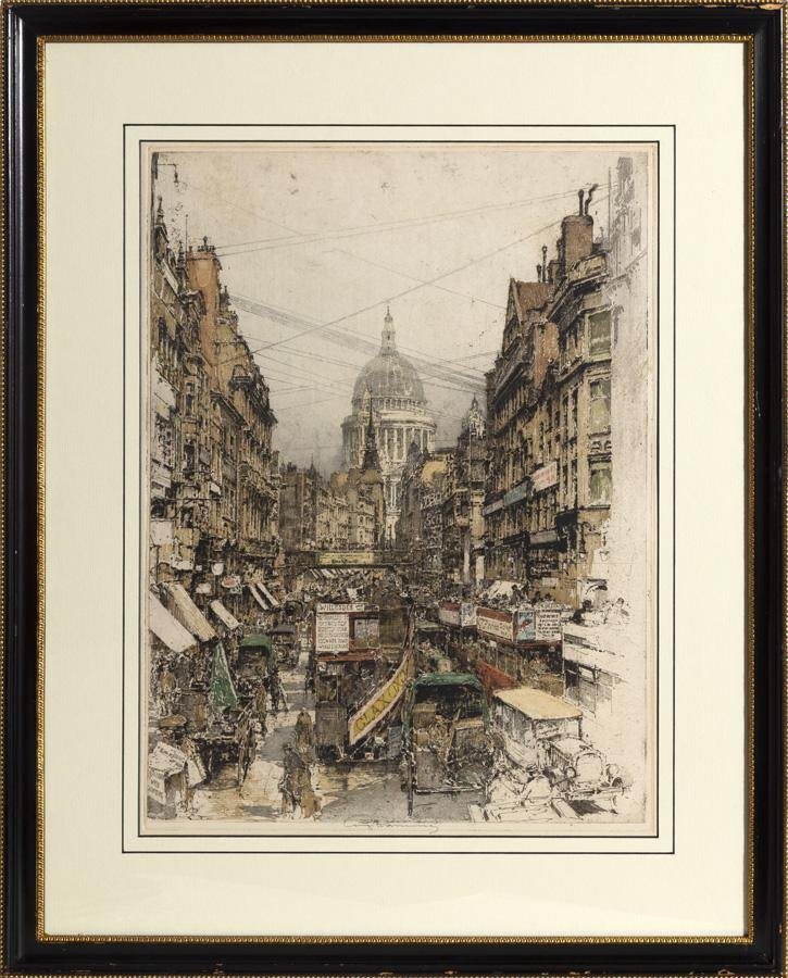 Luigi Kasimir, Fleet Street, Aquatint Etching
