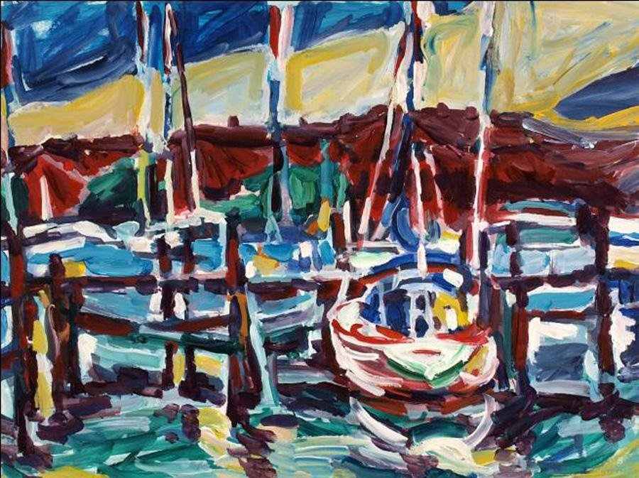 Alfred Sandford, Boats in the Harbor No. 2, Acrylic