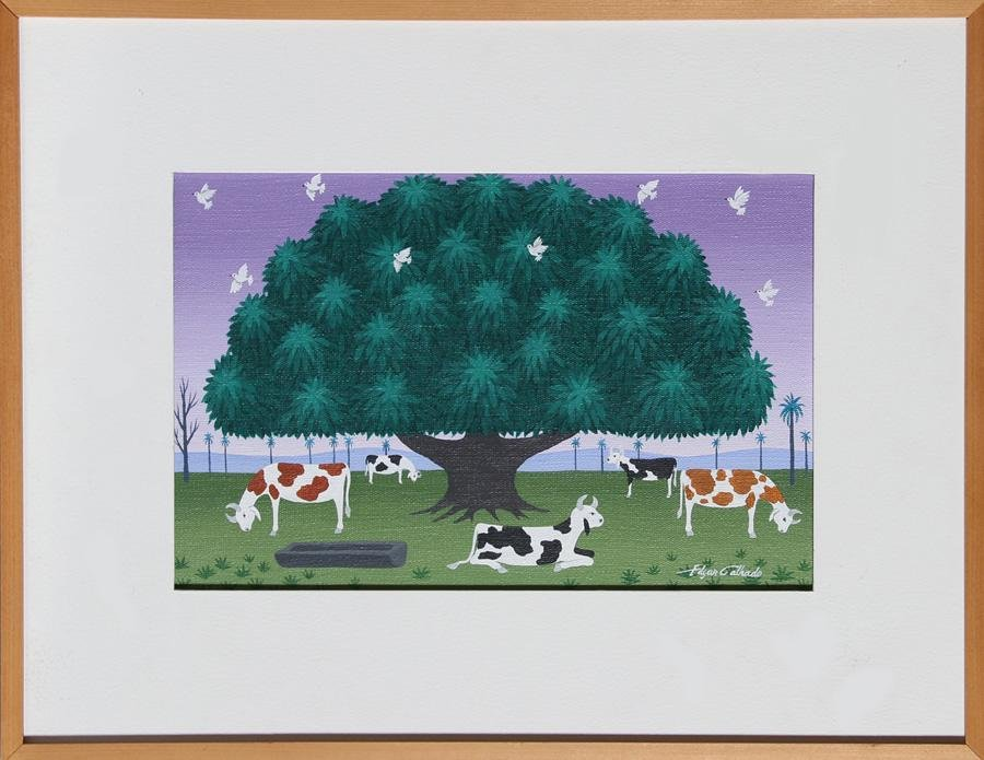 Edgar Calhado, Cows Under a Tree, Acrylic Painting