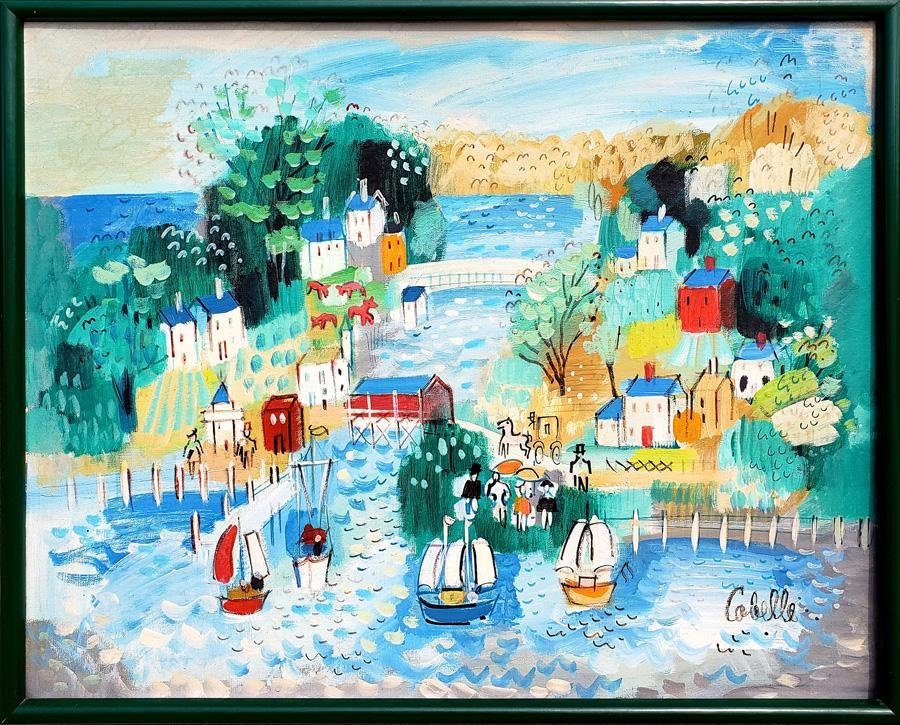Charles Cobelle, Village Sailing Scene with Covered