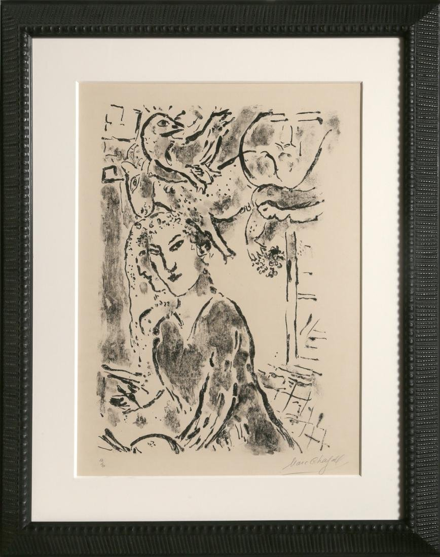 Marc Chagall, Self Portrait at the Window, Lithograph