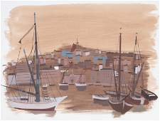 Charles Levier, Marseilles Harbor II, Watercolor on