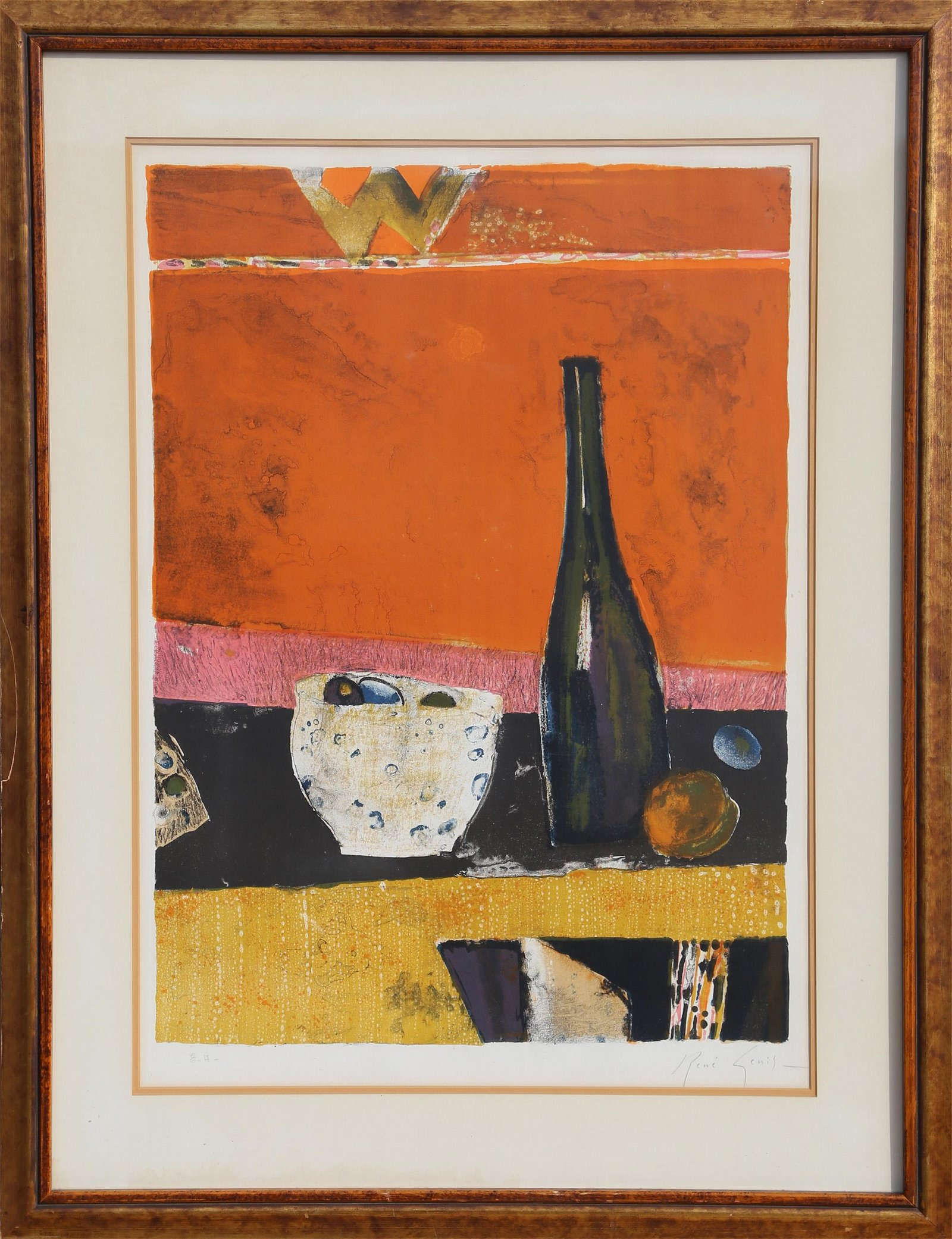 Rene Genis, Still Life with Bottle, Lithograph