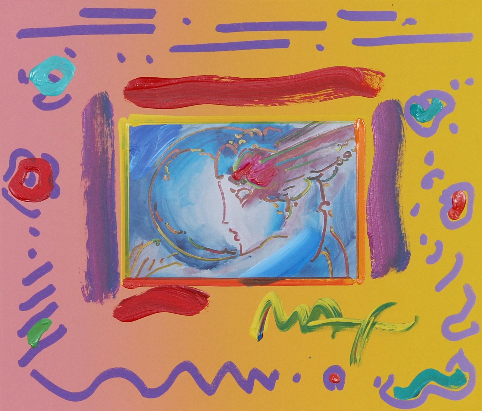 Peter Max, I Love the World, Mixed Media Painting on