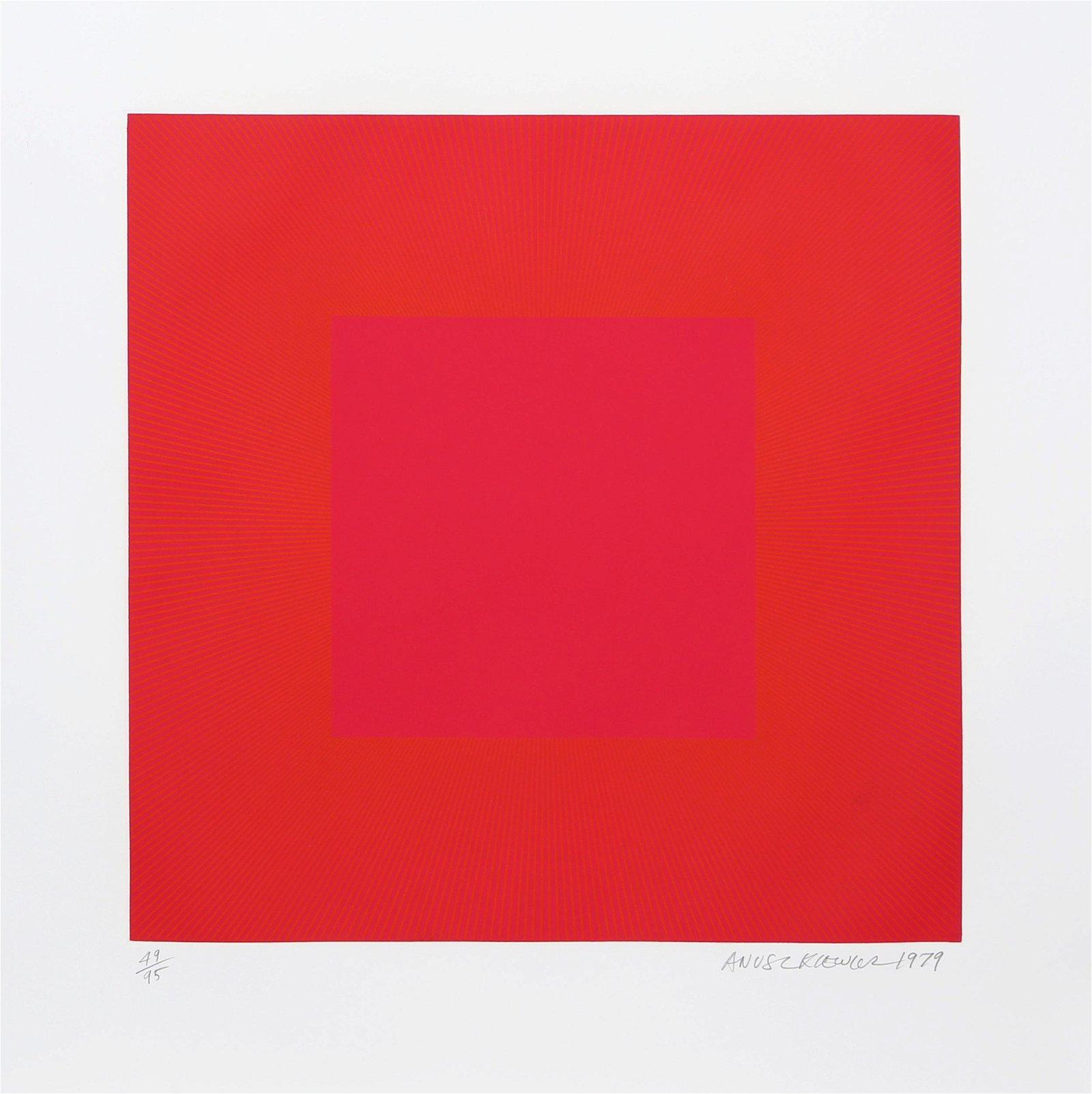 Richard Anuszkiewicz, Red with Gold IV, Intaglio