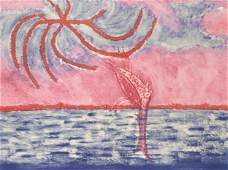Unknown Artist, Red and Blue Seascape, Lithograph