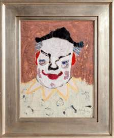 Milton Avery, Clown, Oil and Gouache Painting