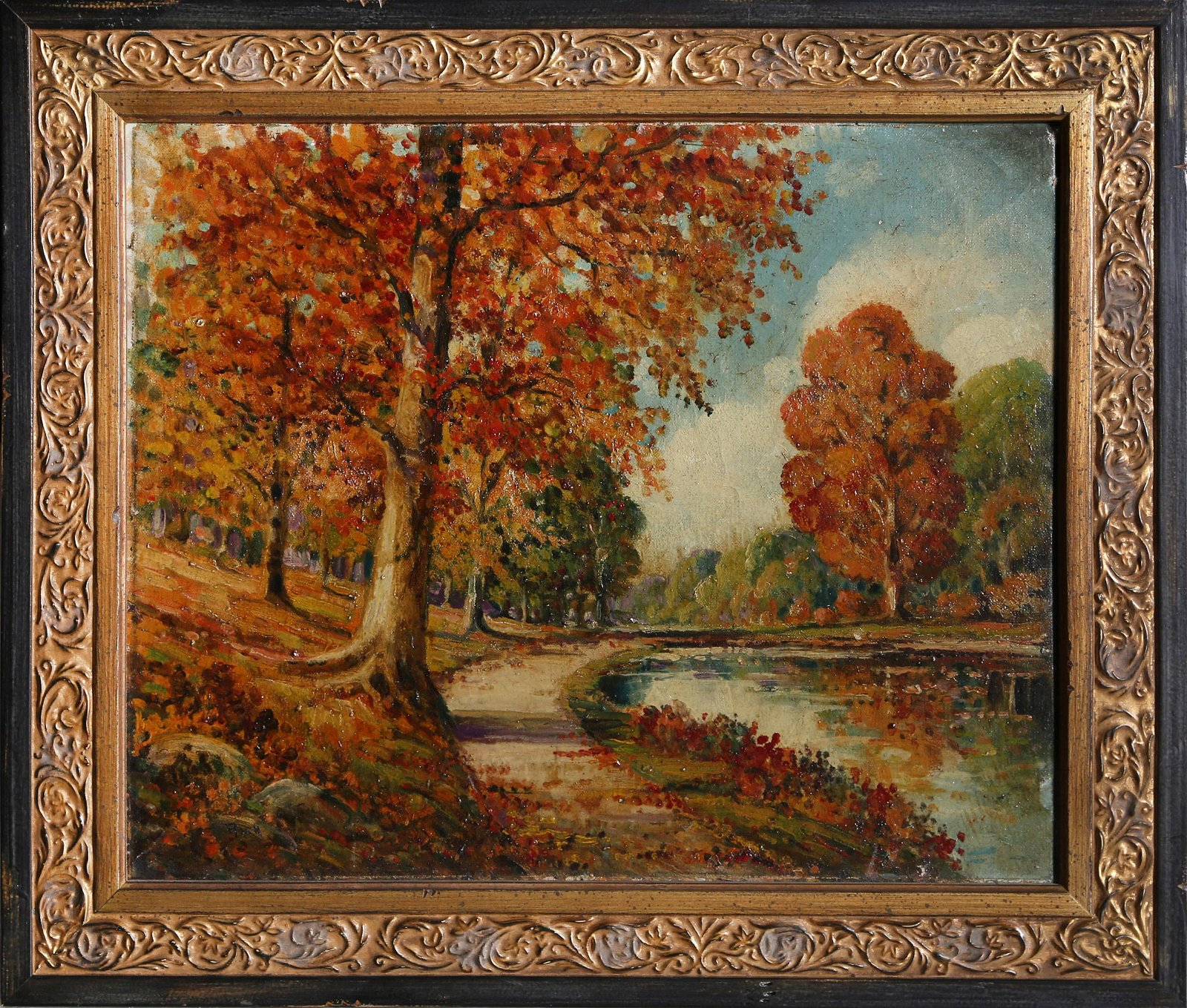 Autumn River Landscape, Oil Painting