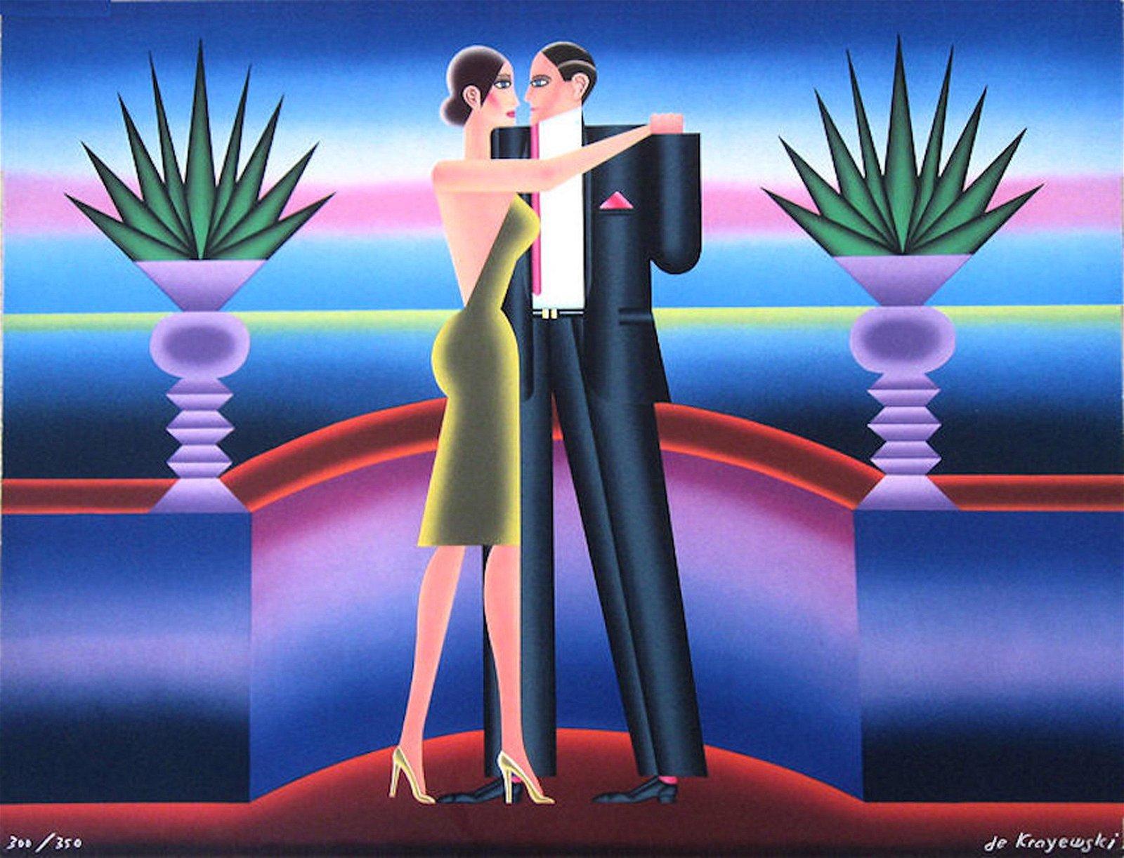 Andre de Krayewski, Dancing Couple, Lithograph