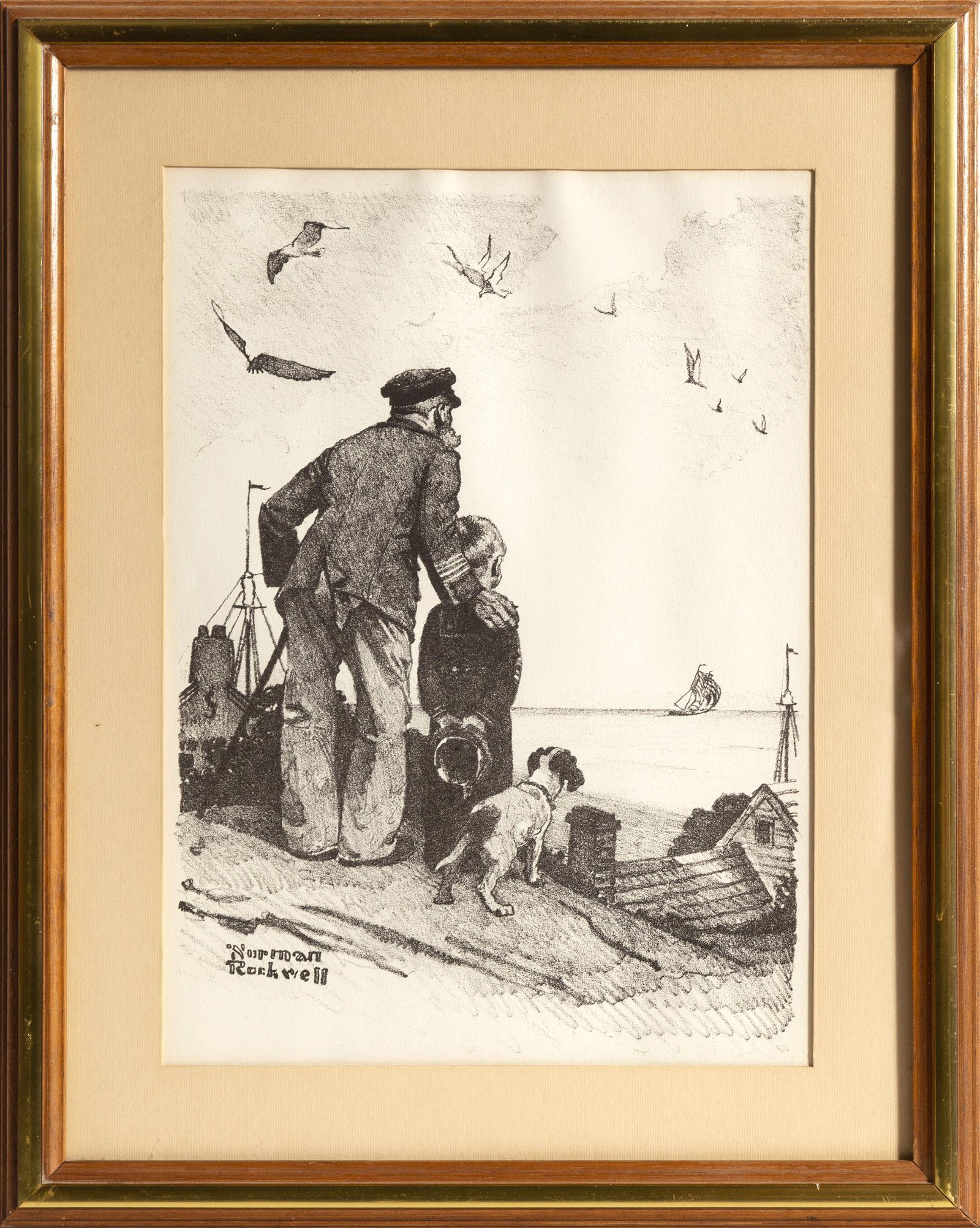 Norman Rockwell, Looking Out to Sea, Lithograph