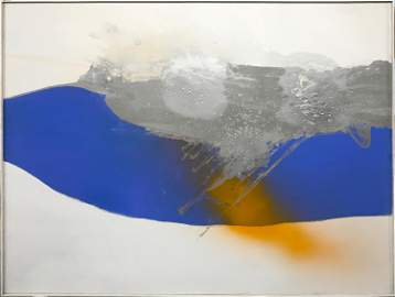 Cleve Gray, Blue Stream, Liquitex on Liquitex Gesso