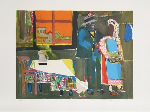 3: Romare Bearden, Autumn of the Rooster, Lithograph