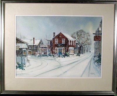 18: Andrew Menna, Pewter Shop, Framed Watercolor