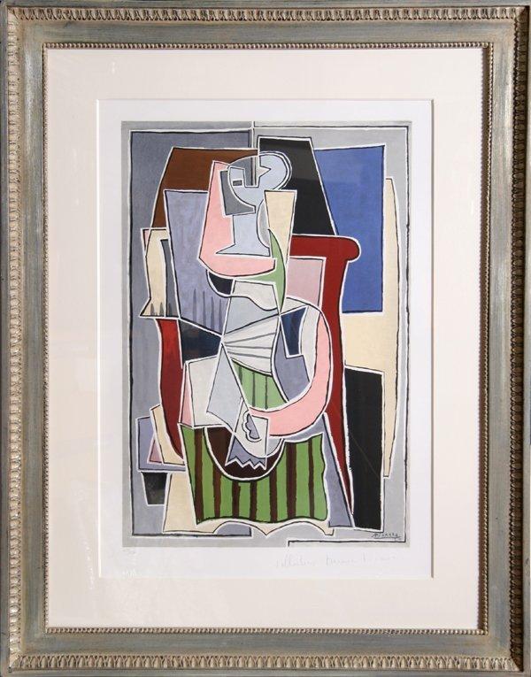 21: Pablo Picasso, Femme au Tablier Raye Vert, Lithogra