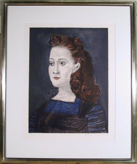 22: Pablo Picasso, Femme a la Collerette Bleue, Lithogr