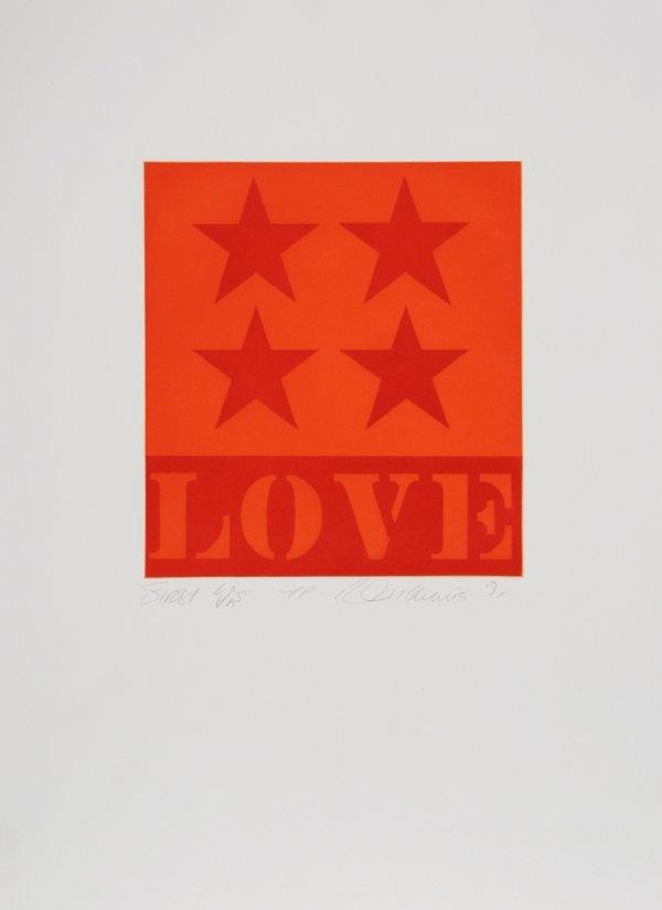 97: Robert Indiana, First Love, Aquatint Etching
