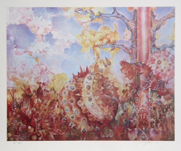 1001: Isaac Abrams, Autumnal Fire, Lithograph