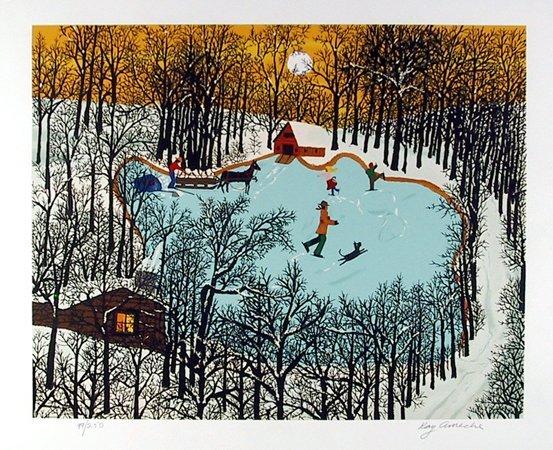 1011: Kay Ameche, Walden Pond in Winter, Serigraph