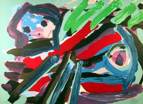 1018: Karel Appel, Walking with My Bird, Lithograph