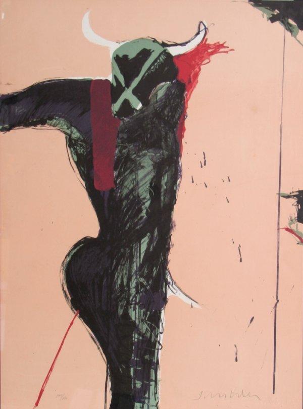1259: Fritz Scholder, Bull, Lithograph