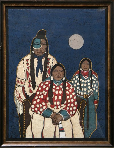 1301: Kevin Red Star, Crow Indian Family, Serigraph