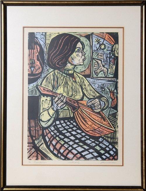 2008: Irving Amen, Mandolin, Framed Woodcut