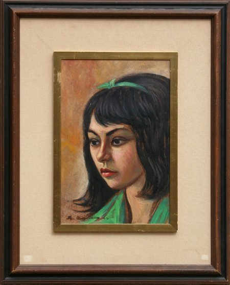 3009: Raul Anguiano, Portrait of Girl, Painting 1966