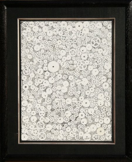 3014: Arman, Watch Gears, Framed Ink Drawing