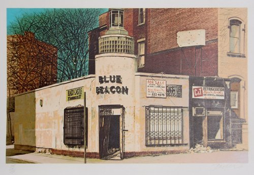3018: John Baeder, Blue Beacon, Serigraph