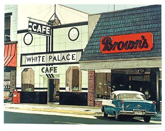 3019: John Baeder, White Palace Café, Serigraph