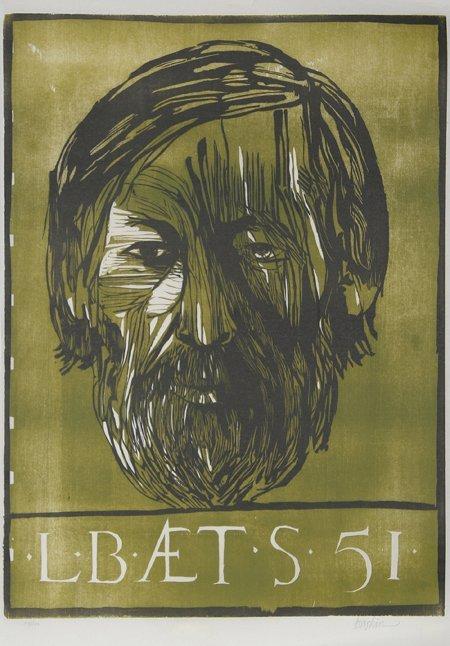 3021: Leonard Baskin, Portrait of Man, Woodcut