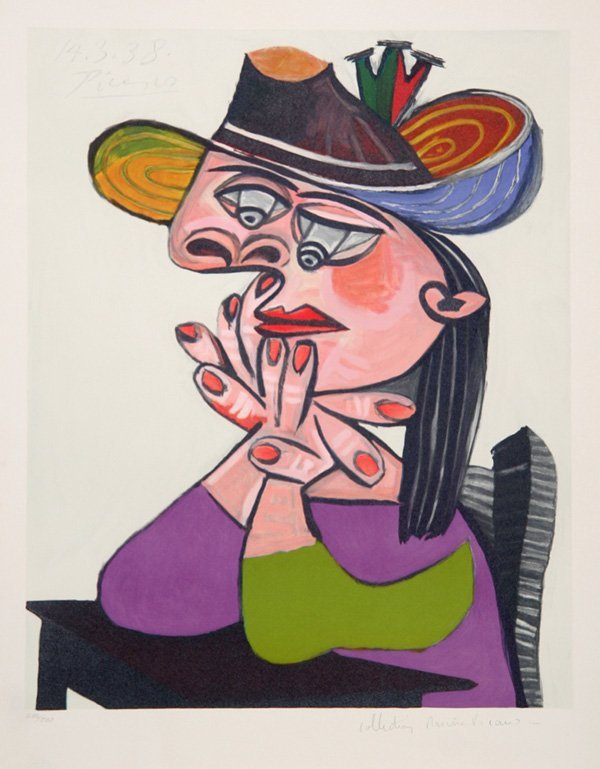 3670: Pablo Picasso, Femme Accoudee En Robe, Lithograph