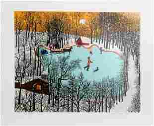 Kay Ameche, Walden Pond in Winter, Screenprint
