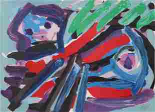 Karel Appel, Walking with my Bird, Lithograph on Arches