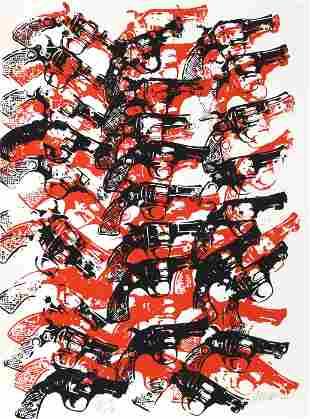 Arman, Bloody Guns, Screenprint