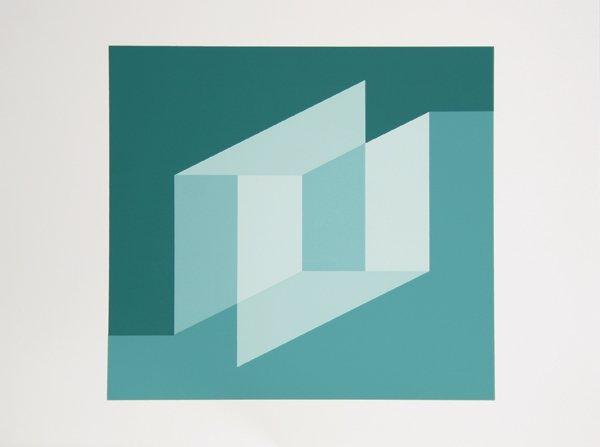 2: Josef Albers, Op-Art Geometric Silkscreen