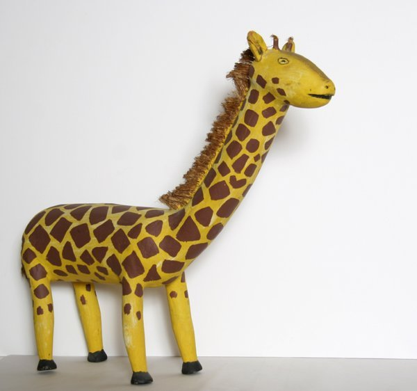 4: David Alvarez, Giraffe, Carved Wood Sculpture