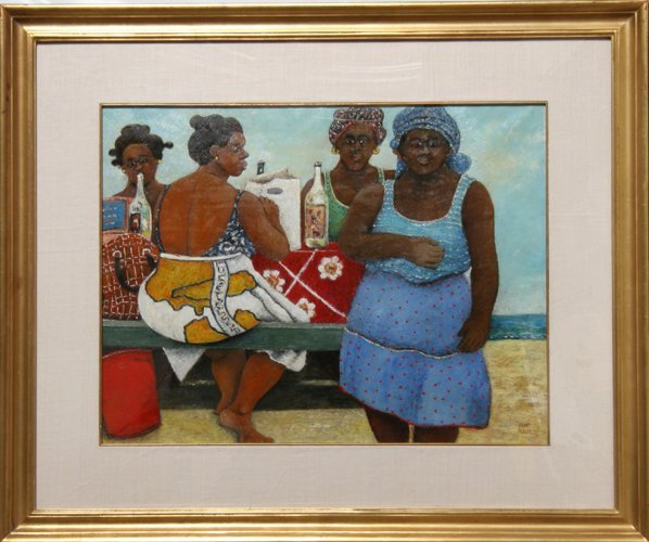21: David Azuz, Island Women, Painting on Paper